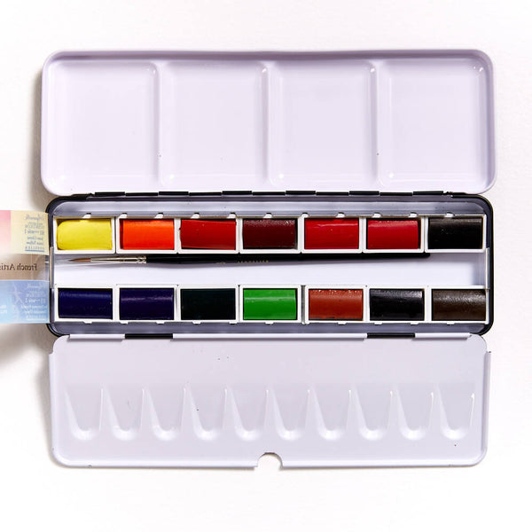 Sennelier Watercolour Metal Box Full Pan Set of 14