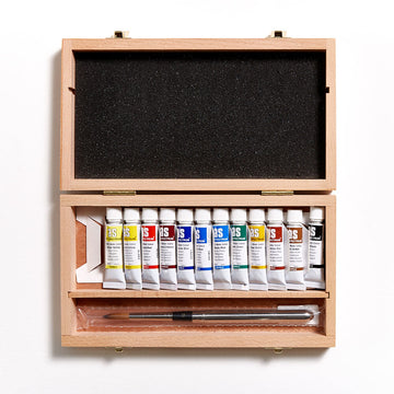 Art Spectrum Watercolour 10mL Wood Box Set of 12 - with Travel Brush