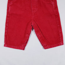 Load image into Gallery viewer, Vtg Red ribbed Dungarees Trousers 3mths-1yr