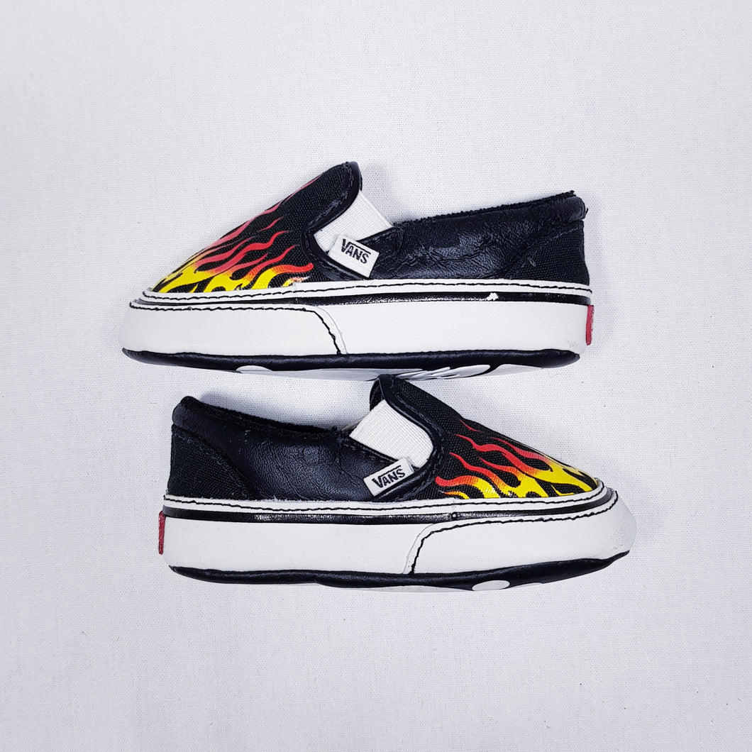 Vtg Vans Slip On Flame 4/20 Infant