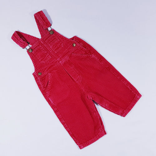 Vtg Red ribbed Dungarees Trousers 3mths-1yr