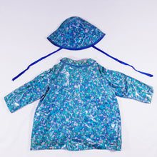 Load image into Gallery viewer, Vtg PVC Abstract Raincoat & Bucket Hat 3-4yrs