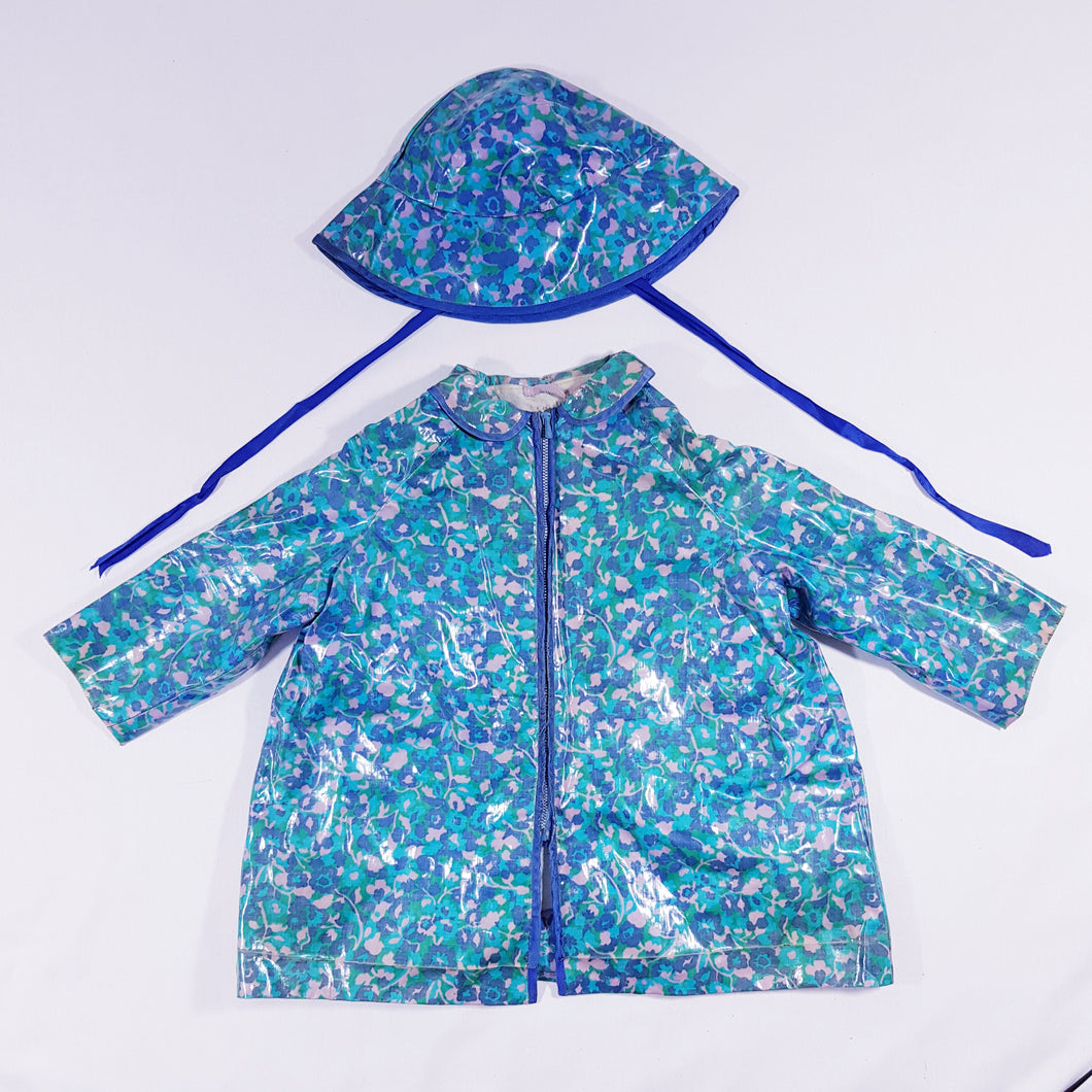 Vtg PVC Abstract Raincoat & Bucket Hat 3-4yrs