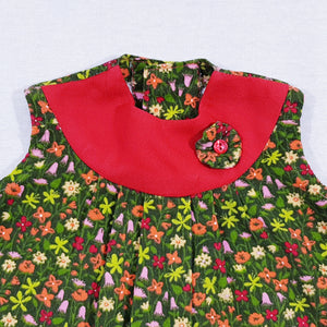 Vtg Needlecord Floral Top 2-3yrs
