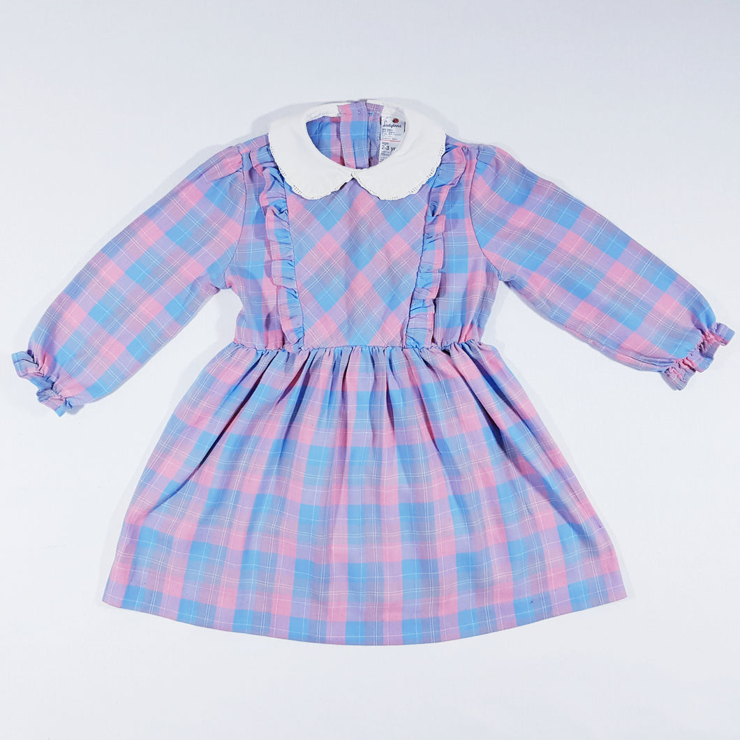 Vtg Tartan Checked Tea Dress 2-3yrs