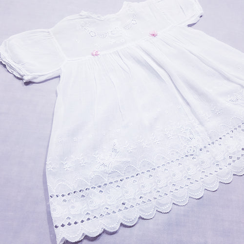 Vtg Handmade Sheer Embroidery Anglaise Lace Dress 0-1yrs