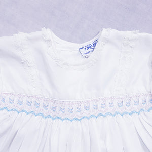 Vtg Smocked Lace Dress 1-2yrs