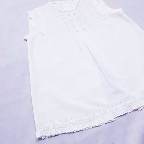 Vtg Handmade Embroidery Lace Dress 0-1yrs