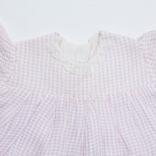 Load image into Gallery viewer, Vtg Babydoll Gingham Lace Dress 1-2yrs