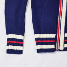 Load image into Gallery viewer, Vtg Stripe Mod Zip Cardigan 7-8 yrs