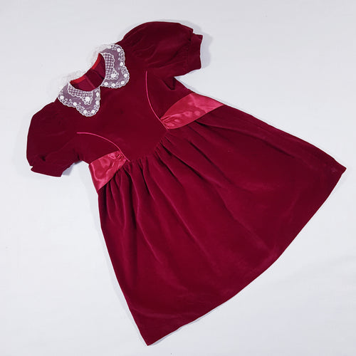 Vtg Velvet Red Lace Dress 4-5 yrs