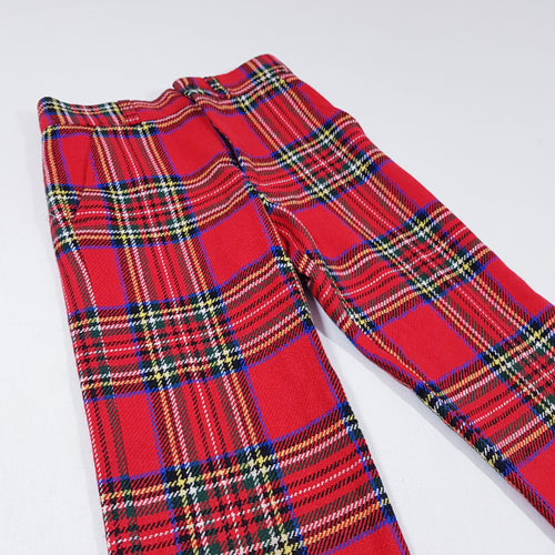 Vtg Red Tartan Wool Trousers 6-7yrs