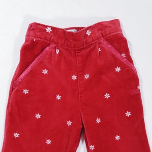 Vtg Osh Kosh Velvet Snow Flake Trousers 1-2 yrs