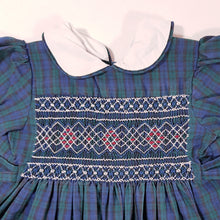 Load image into Gallery viewer, Vtg Handmade Traditional Tartan Smocked Dress 2-3yrs