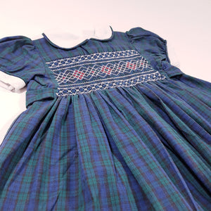 Vtg Handmade Traditional Tartan Smocked Dress 2-3yrs