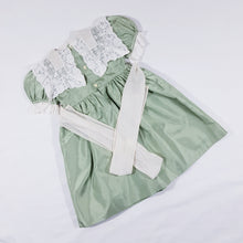 Load image into Gallery viewer, Vtg Sage Edwardian Style Lace Bib Dress 2-3yrs