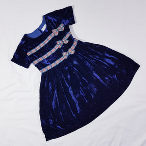 Vtg Midnight Velvet Silk Tartan Dress 6-7yrs