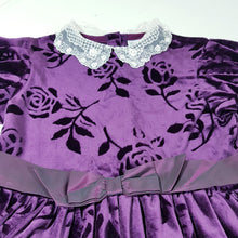 Load image into Gallery viewer, Vtg Purple Velvet Flock Rose Tea Dress 8-9 yrs