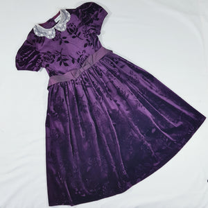 Vtg Purple Velvet Flock Rose Tea Dress 8-9 yrs