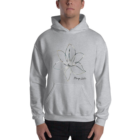Grey Margo Zelle Unisex Hoodie With Green/Gold Logo Flower