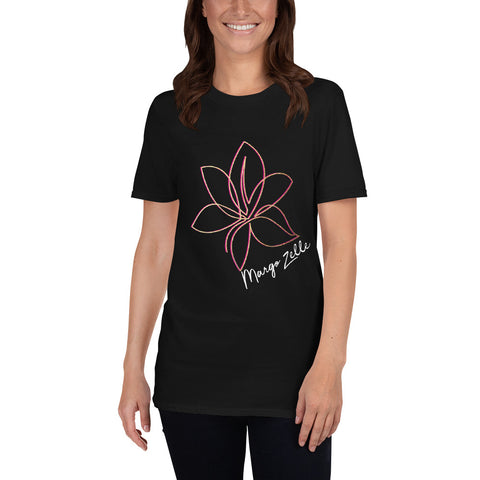 Black Short-Sleeve Unisex T-Shirt with Pink and Gold MZ Logo