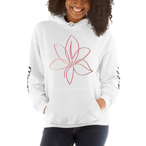 White Margo Zelle Unisex Pink/Gold Flower Hoodie with Sleeve Prints