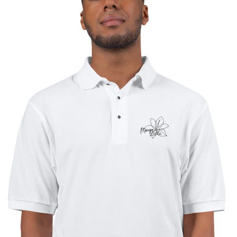 MZ White Embroidered Premium Polo Shirt