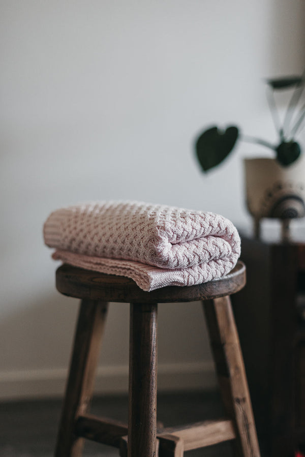 Blush Pink Knit Baby Blanket