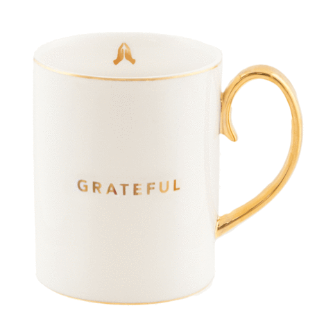 Christina Re White Grateful Mug