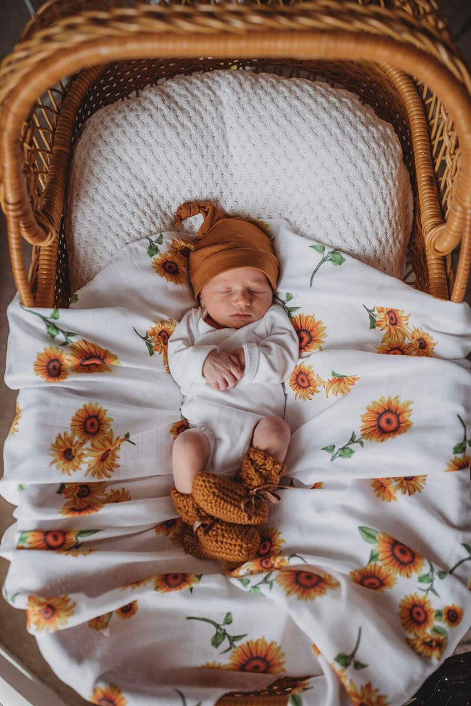 Organic cotton Sunflower muslin baby wrap