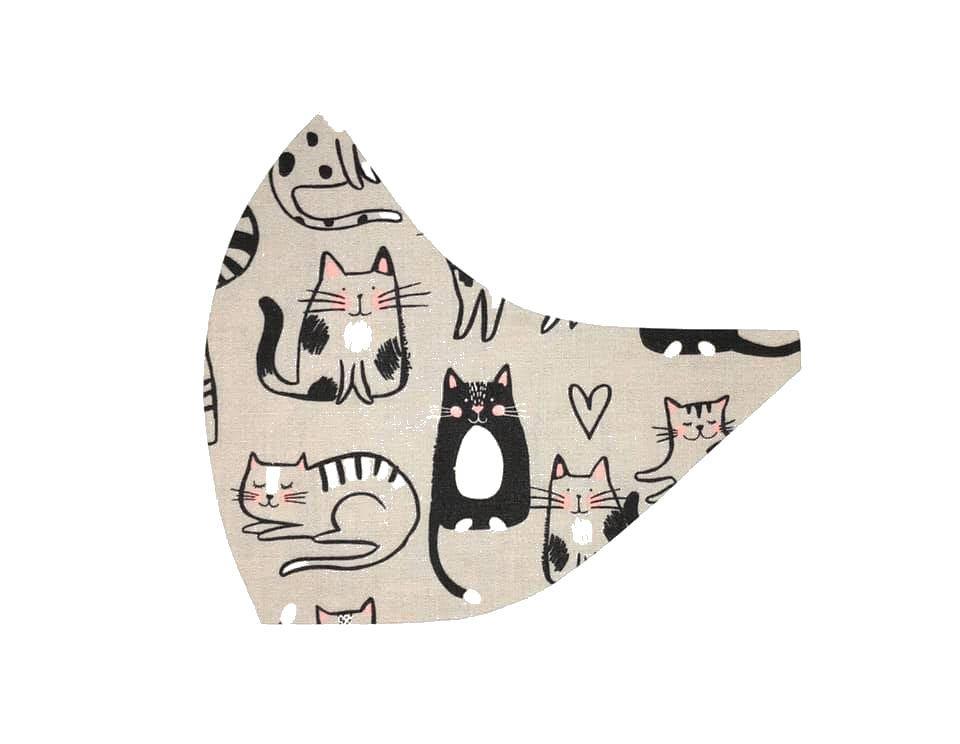 Cats on Grey Face Mask