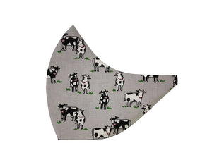 Cows on Grey Face Mask