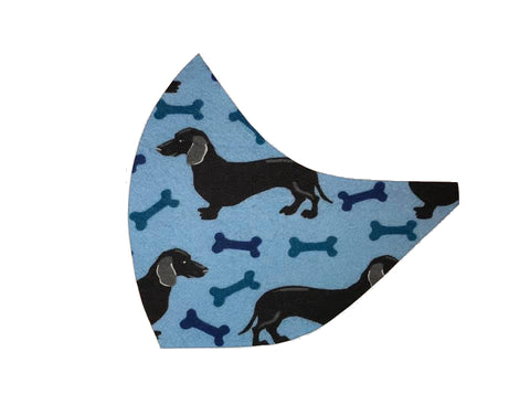 Doxies & Bones on Blue Face Mask
