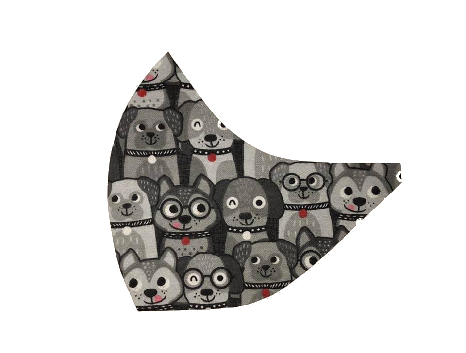 Grey Dog Faces Face Mask