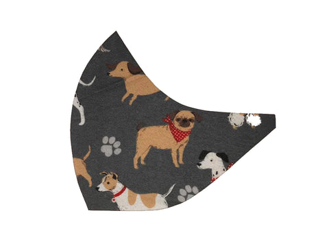 Illustrated Dogs on DK Grey Face Mask