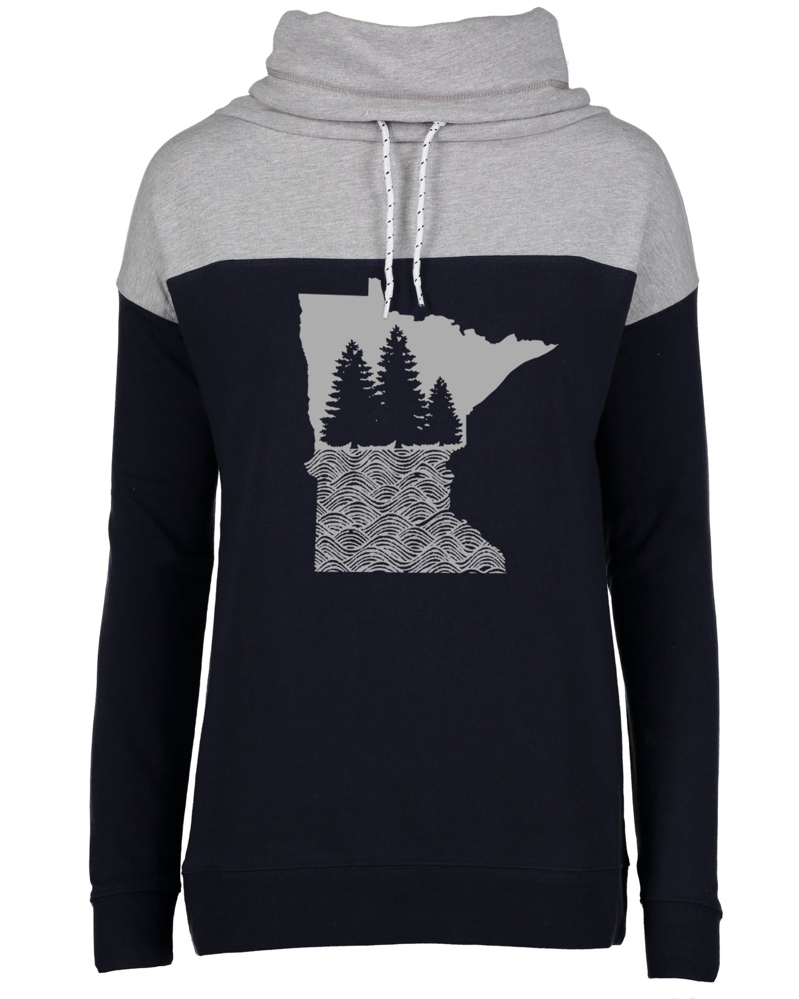 MN Trees & Waves Cowl Neck Sweatshirt