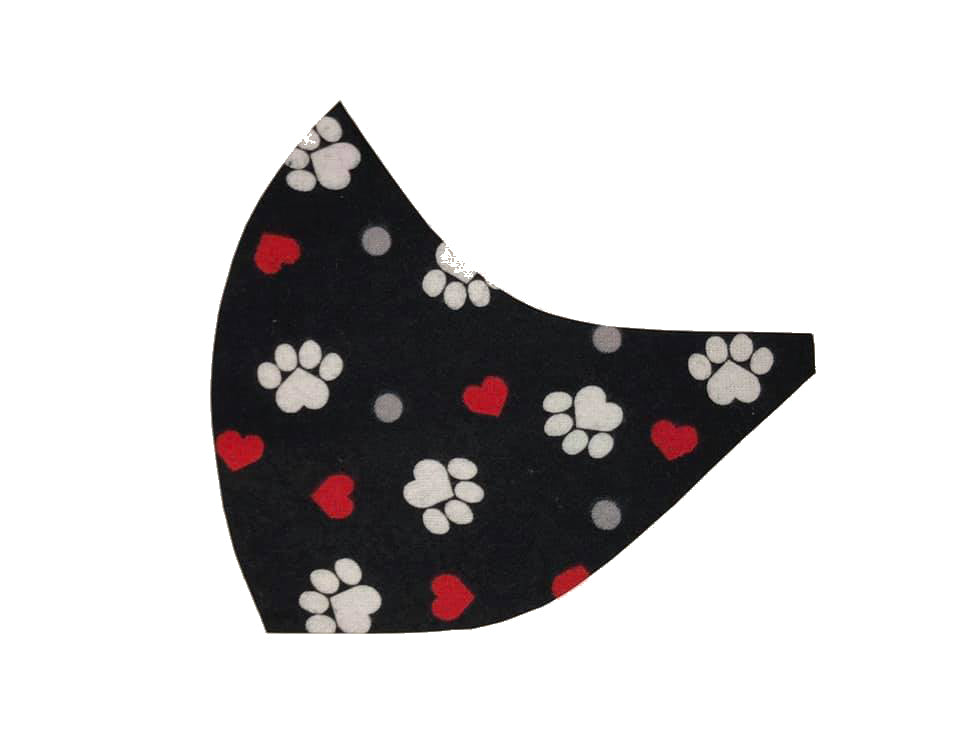 Paws & Hearts on Black Face Mask