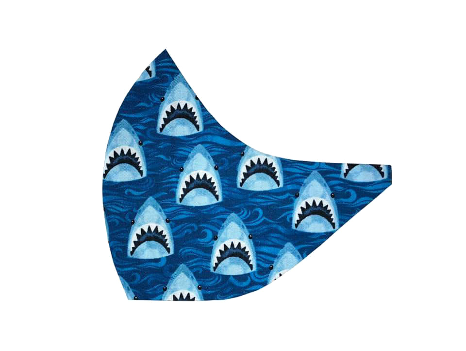 Shark Heads Blue Face Mask