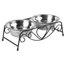 Load image into Gallery viewer, Double Stainless Steel Bowls With Decorative Holder