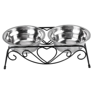Double Stainless Steel Bowls With Decorative Holder