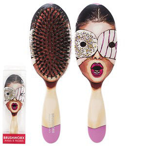 Brushworx Artists and Models Cushion Hair Brush Sugar Baby - WAHairSuppliers