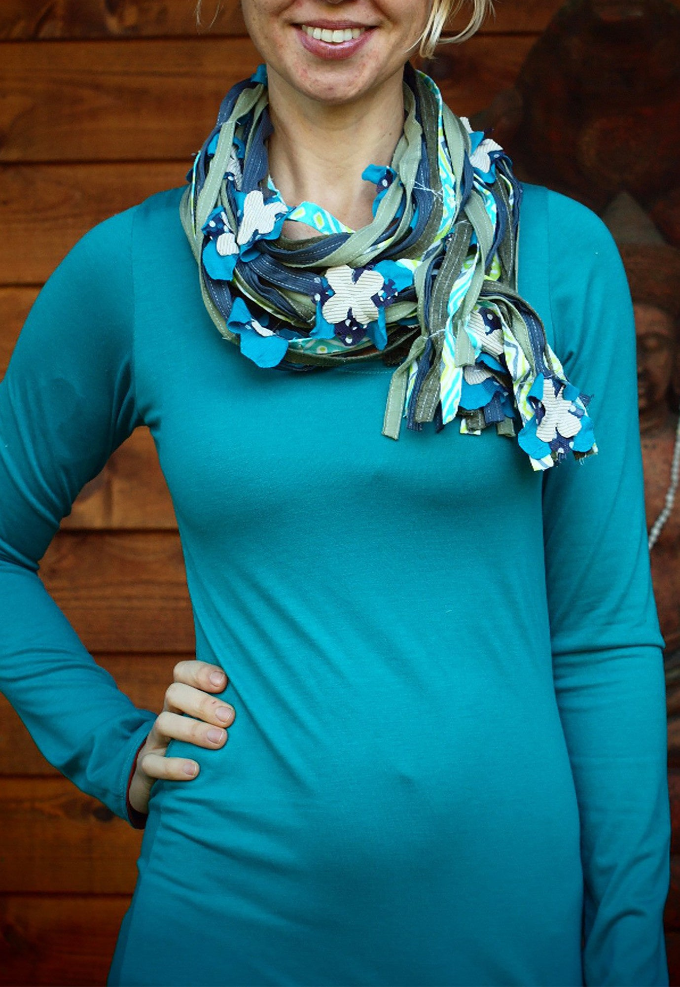 Flowers and Vines Scarf Wide