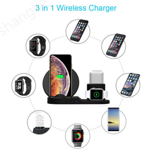 3in1 Wireless Charger Stand Qi 15W Fast Charging