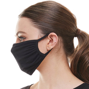Solid black washable reusable fabric face mask