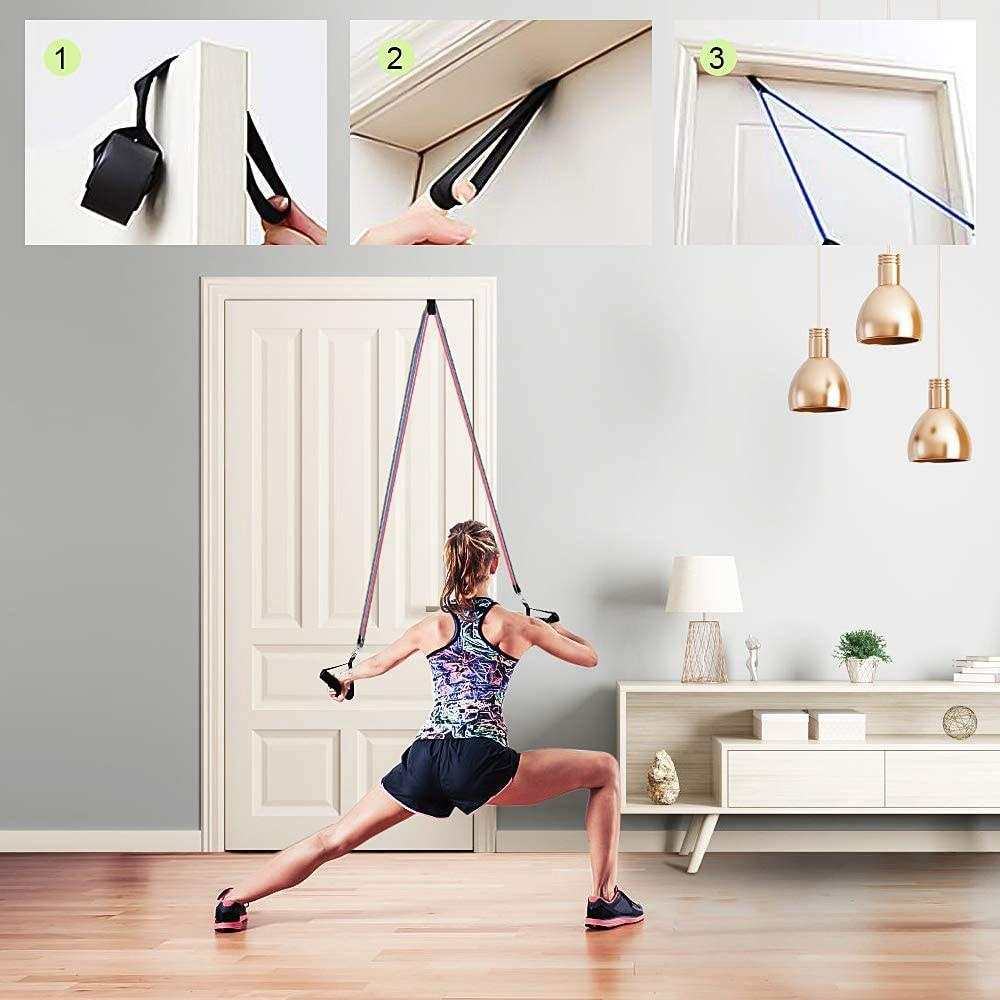 Resistance Bands Set Exercise Bands with Door Anchor Legs Ankle Straps