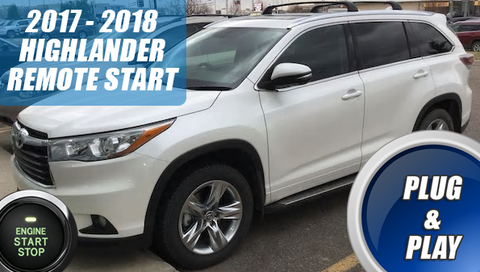 2016 2017 2018 Toyota Highlander Remote Start