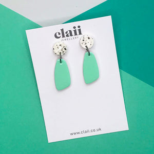 Paint Splatter Mint Green Dangle Earrings