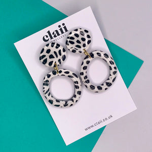 Monochrome Wonky Circle Dangle Earrings