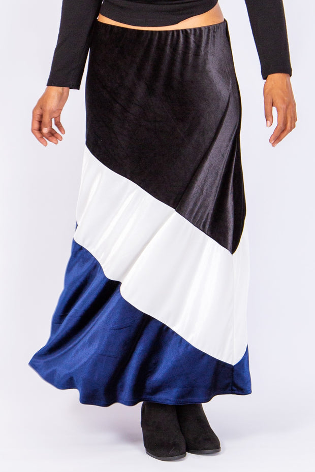 Velvet Luxe Colour Block Skirt