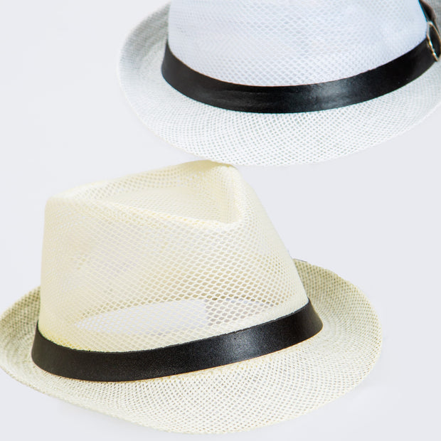 Trilby Straw Hat – with faux leather hat band